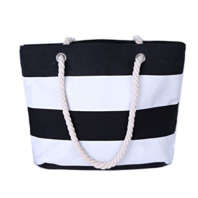 Amazon.com: Large Striped Cotton Canvas Beach / Tote Bag (Black ...