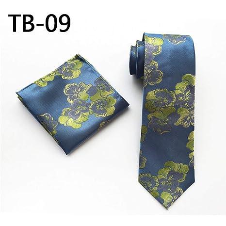 CDBGPZLD Corbata Azul para Hombre Corbata de Flores Verdes Juego ...