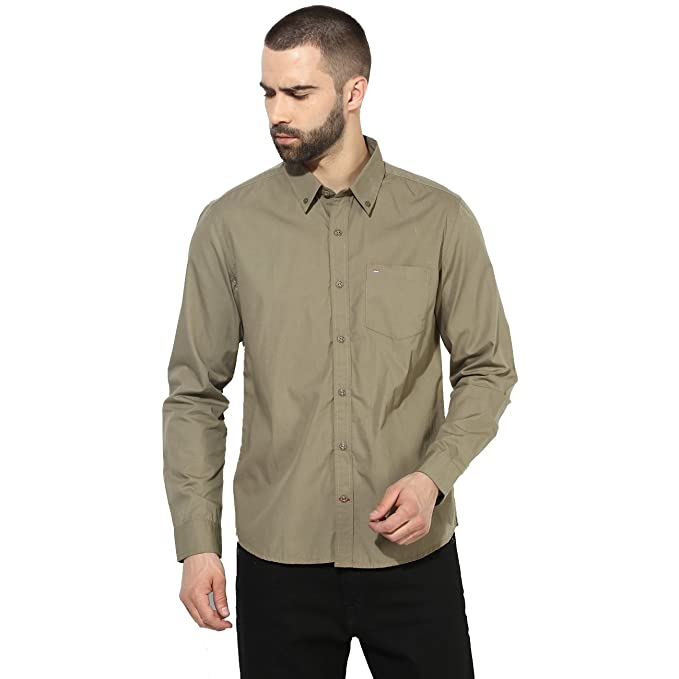 c1e721b480 Red Chief Olive Men Casual Cotton Full Sleeve Regular Fit Shirt (8110420  124)  Amazon.in  Clothing   Accessories