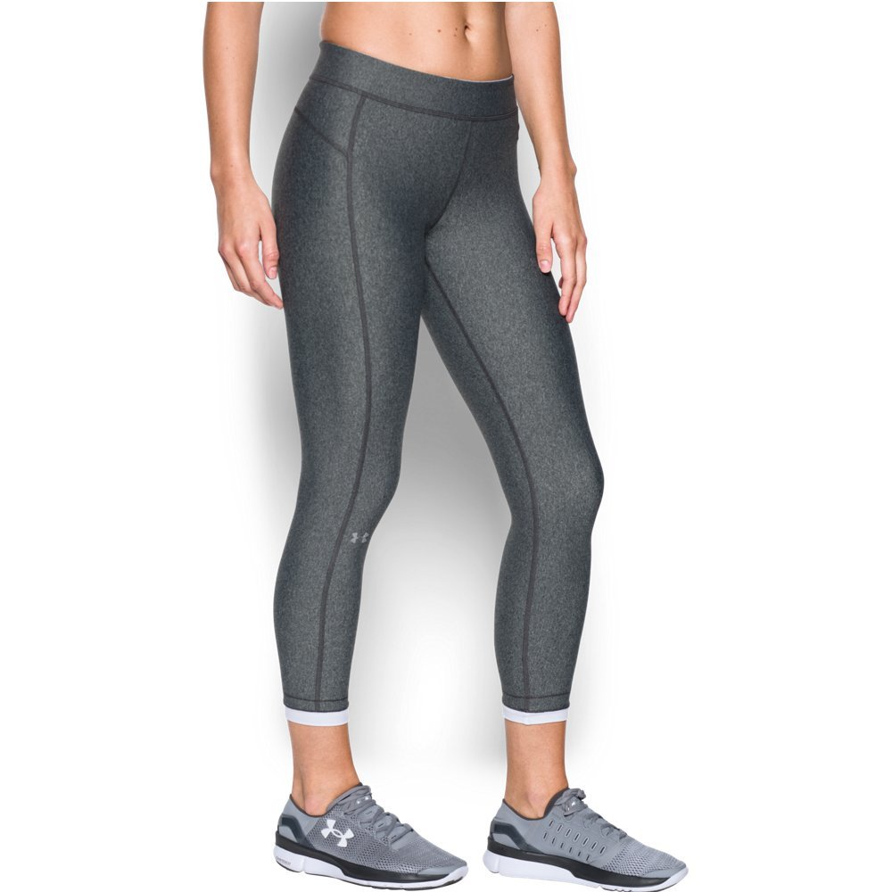 Under Armour Women's HeatGear Armour Ankle Crop, Carbon Heather /Metallic Silver, X-Small