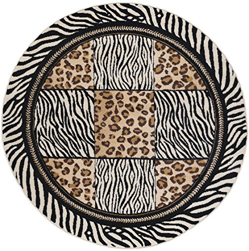 Macie Transitional Animal Multi-Color Round Area Rug, 5' Round - Round Zebra Print Rug