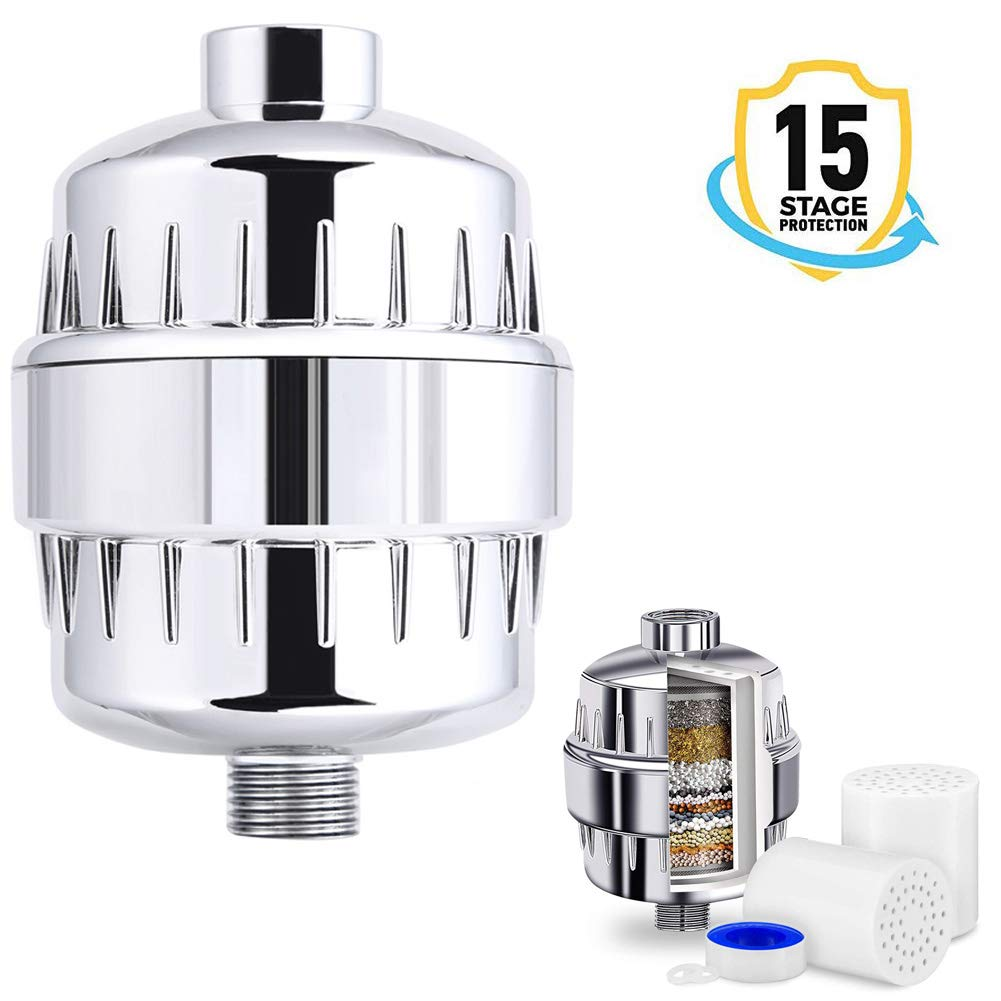 15 Stage Shower Filter -For Any Showerhead & Filtered Shower Head (Silver)