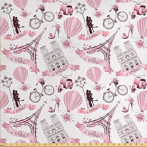 Ambesonne Paris Fabric by The Yard, Valentines Day Theme with Eiffel Kissing Couple Hot Air Balloon Wedding Concept, Decorative Fabric for Upholstery and Home Accents, 2 Yards, Baby Pink Rose