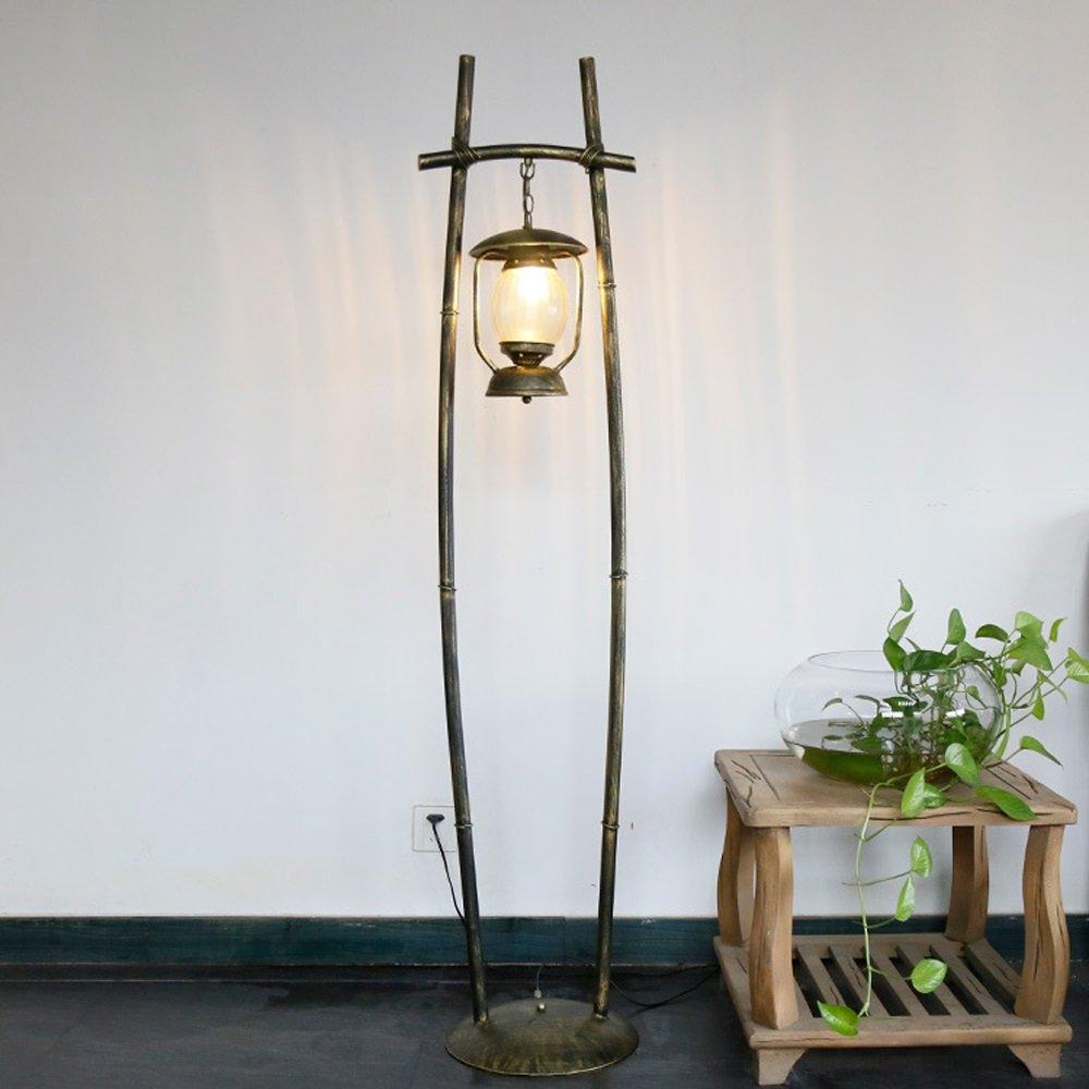 MGFLX Country Living Room Bedroom Restaurant Cafe Lights Warm Iron Kerosene Lamp Lantern Floor Lamps Size: 330 1610mm A++
