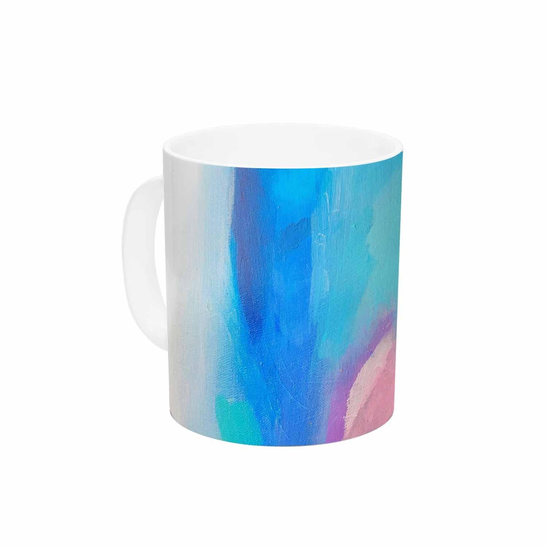 Multi 11oz KESS InHouse Geordanna FieldsSabras Teal Blue Painting Ceramic Coffee Mug