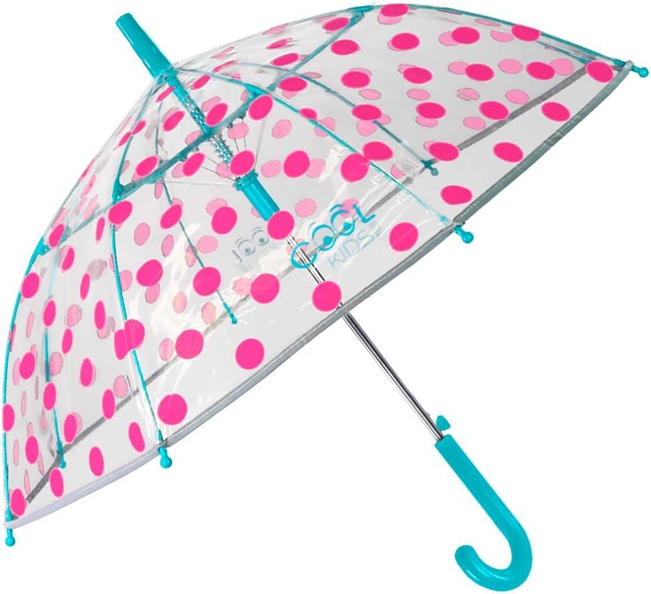 Paraguas Transparente Niña Lunares Fucsia Antiviento - Paraguas Infantil Cupula Dots - Detalles Azules y Ribete Plateado Reflectante - Automatico - POE - 4/7 Años - Diametro 74 cm Perletti (Lunares)