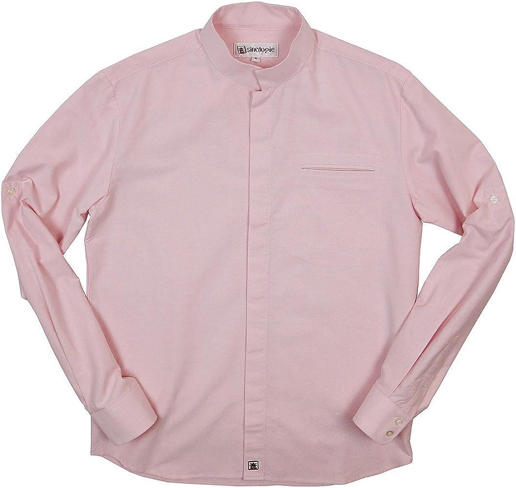 Sinologie - Camisa de vestir - cuello mao - para hombre Rosa rosa: Amazon.es: Ropa y accesorios