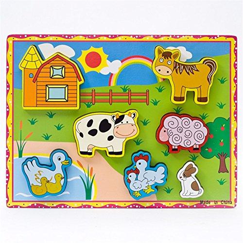 Qiyun 3D Wooden Animal Vehicle Fruits Geometrical Cartoon Educational Puzzle Jigsaw style:Farm animals, A