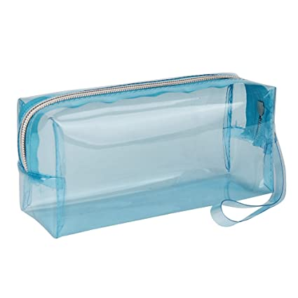 Covermason Niña Transparente Caja de lápices Estuches (Azul claro)