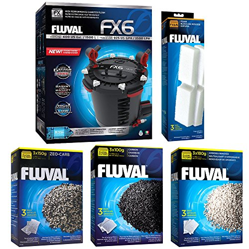 Fluval FX6 A219 Filter w/ Foam, Carbon, Ammonia Remover & Zeo-Carb 3mo by Fluval