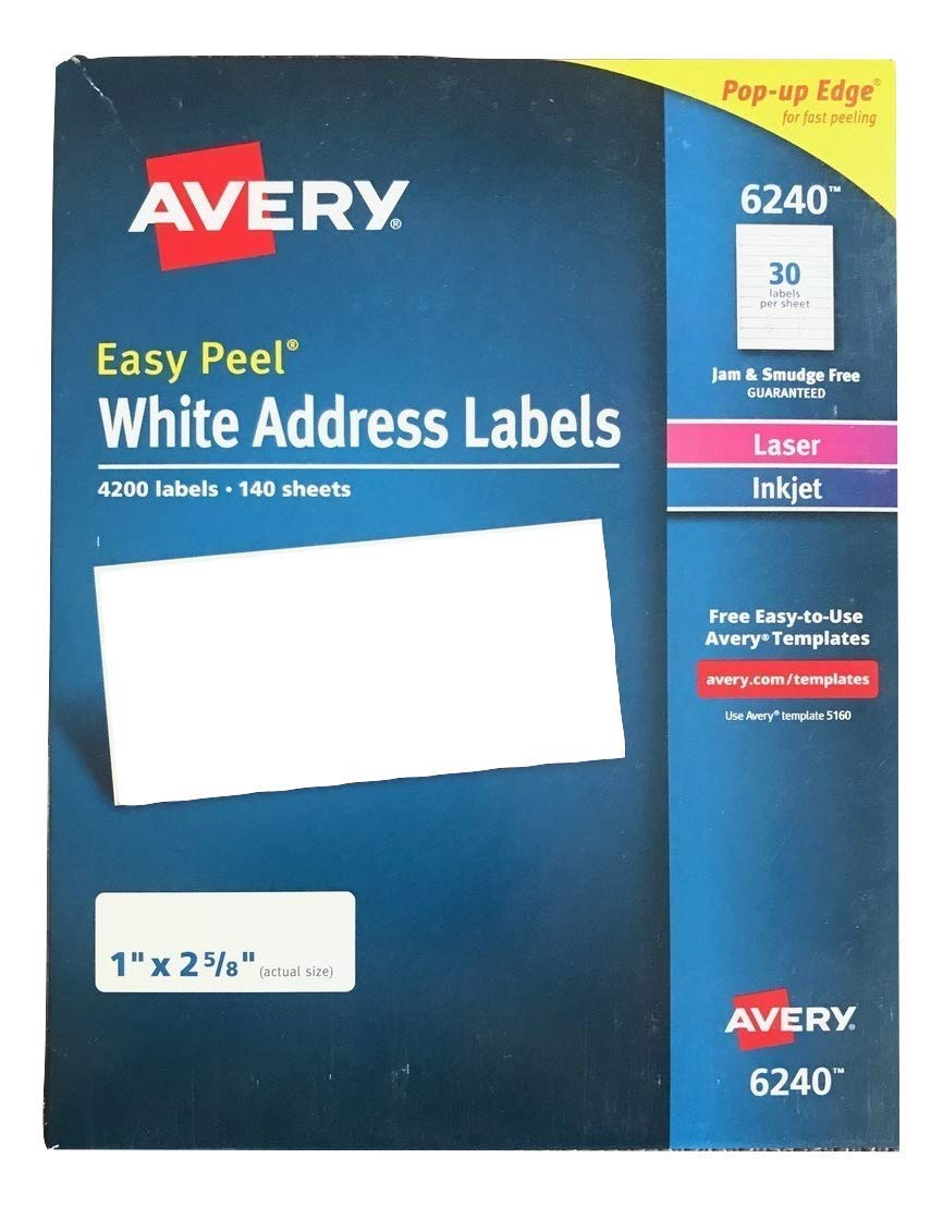 Avery Easy Peel White Address Labels for Laser Printers 6240, 1'' x 2-5/8'', Box of 4200 by Avery