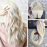 Moresoo 20 Inch Platinum Blonde Color #60 Tape in Remy Human Hair Extensions Seamless Skin Weft Adhesive Hair Extensions 40pcs/100g … 40pcs/100g