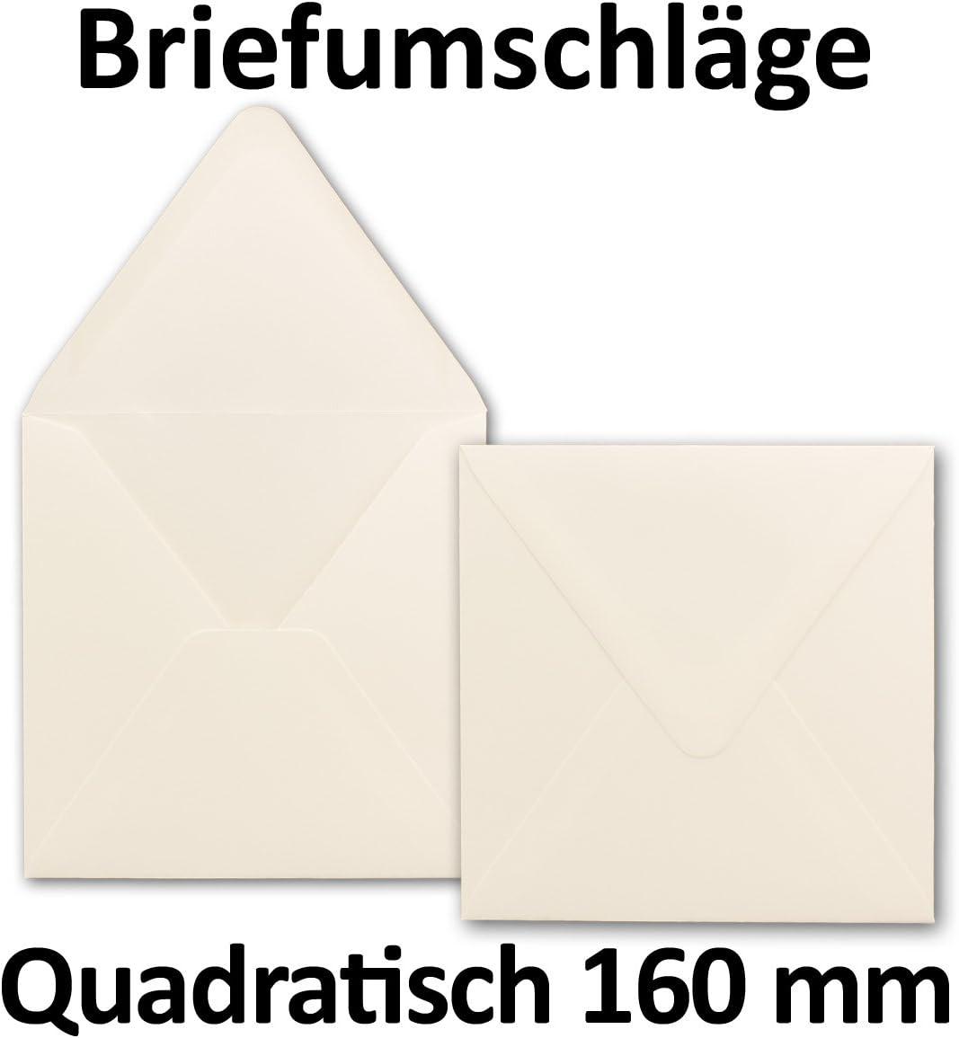 Nassklebung 16,0 x 16,0 cm Weiss Marke 120 g//m/² Premium Qualit/ät F/ür ganz besondere Anl/ässe 25x Briefumschl/äge Quadratisch 160 x 160 mm GUSTAV NEUSER