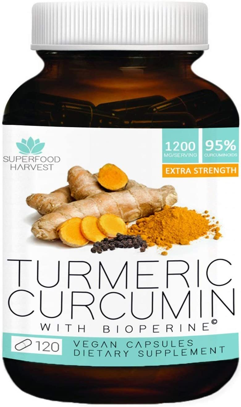 Organic Turmeric Curcumin with Bioperine - 1200mg 120 Capsules - Premium Joint Healthy Inflammatory Support - Non-GMO, Made in The USA