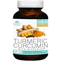 Organic Turmeric Curcumin with Bioperine - 1200mg ( 120 Capsules ) - Extra Strength Pain Relief & Joint Support Supplement - Non-GMO , Made in the USA by Superfood Harvest