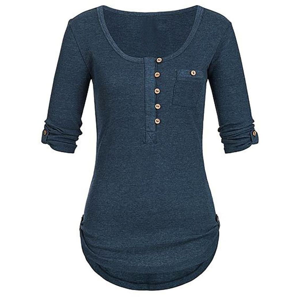 4a16b16b86d UONQD Women Solid Long Sleeve Button Blouse Pullover Tops Shirt Pocket at  Amazon Women s Clothing store