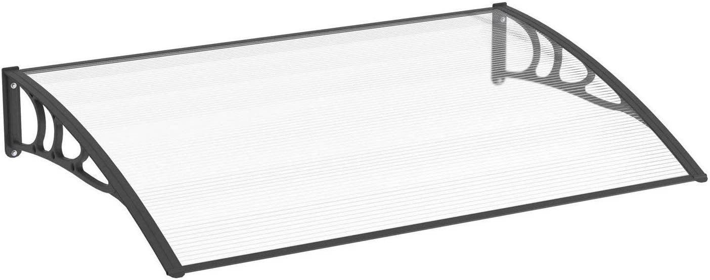 DF-600C Defacto Vordach /Überdachung Haust/ürvordach Polycarbonat-Solide klar Pultbogenvordach Inkl Montagematerial Klar+Schwarz 60x80cm