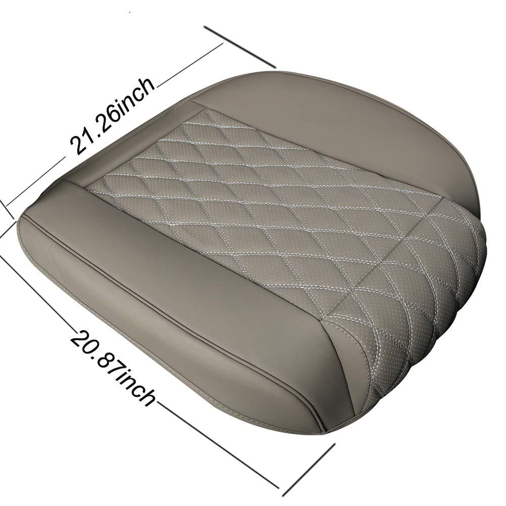 "BLACK PANTHER PU Car Seat Covers,Leg Rest Design,Single Seat without Backrest W 21.26*D 20.87/"" 1Piece,Grey"