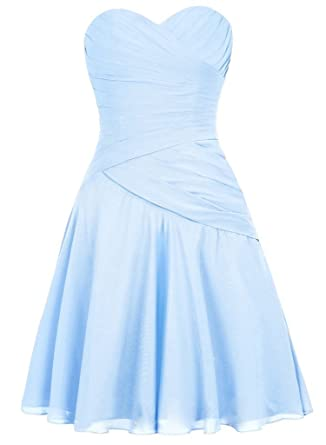 EllaGowns Vintage Short Evening Dresses Chiffon Bridesmaid Dress Sky Blue US 6