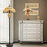 Cloud Mountain Tiffany Style Lamp Set 2 Piece Table and Floor Lamp Set Victorian Double Lit Lamp Stained Glass Lighting