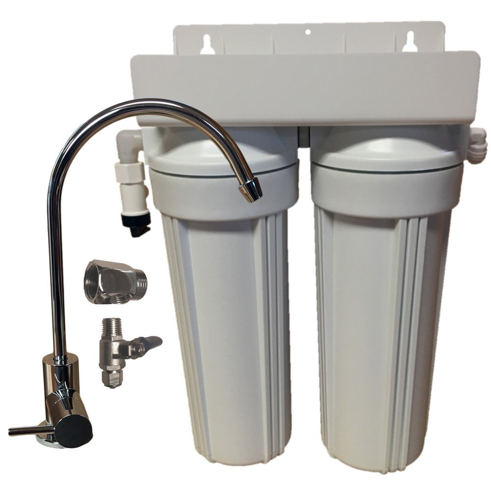 2 Stage 10'' Drinking Water Filter with Faucet and Undersink Connection Kit
