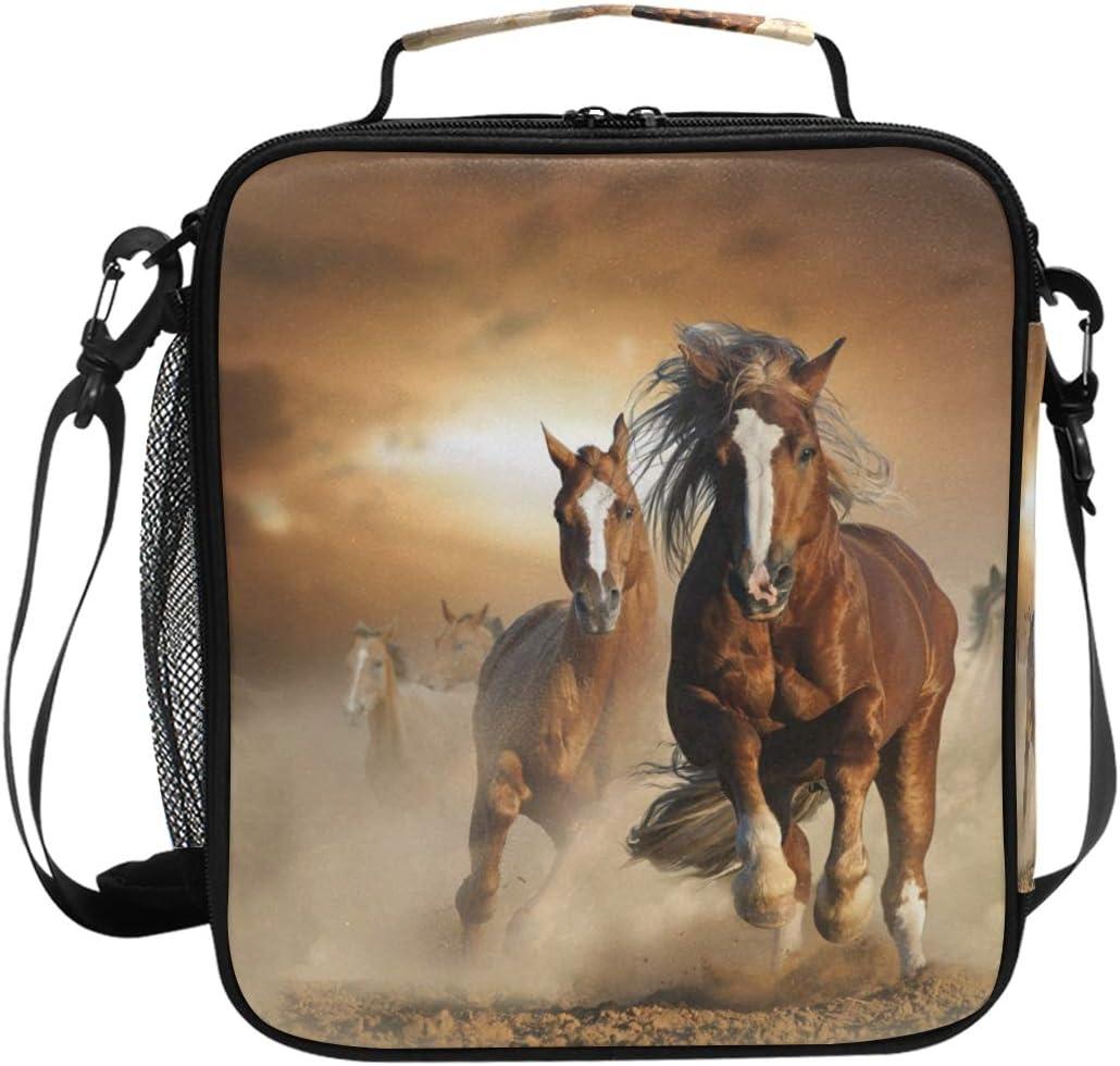 Bolsa de almuerzo aislada para caballos de correr, cuadrada, portátil, gran capacidad, para viajes, picnic, escuela, bolsa de almuerzo para niños, niñas, niños, adolescentes