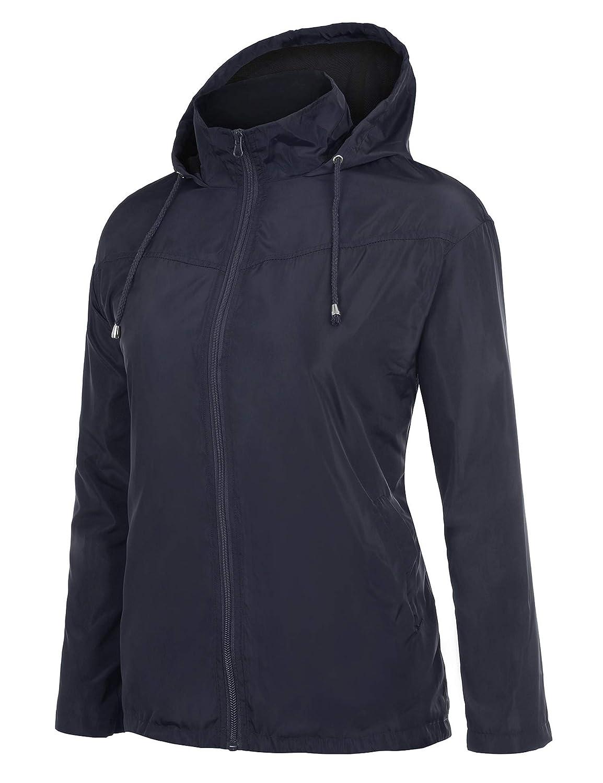 8c060b020 Women FISOUL Womens Lightweight Waterproof Raincoat Active Outdoor Hooded Rain  Jacket Windbreaker