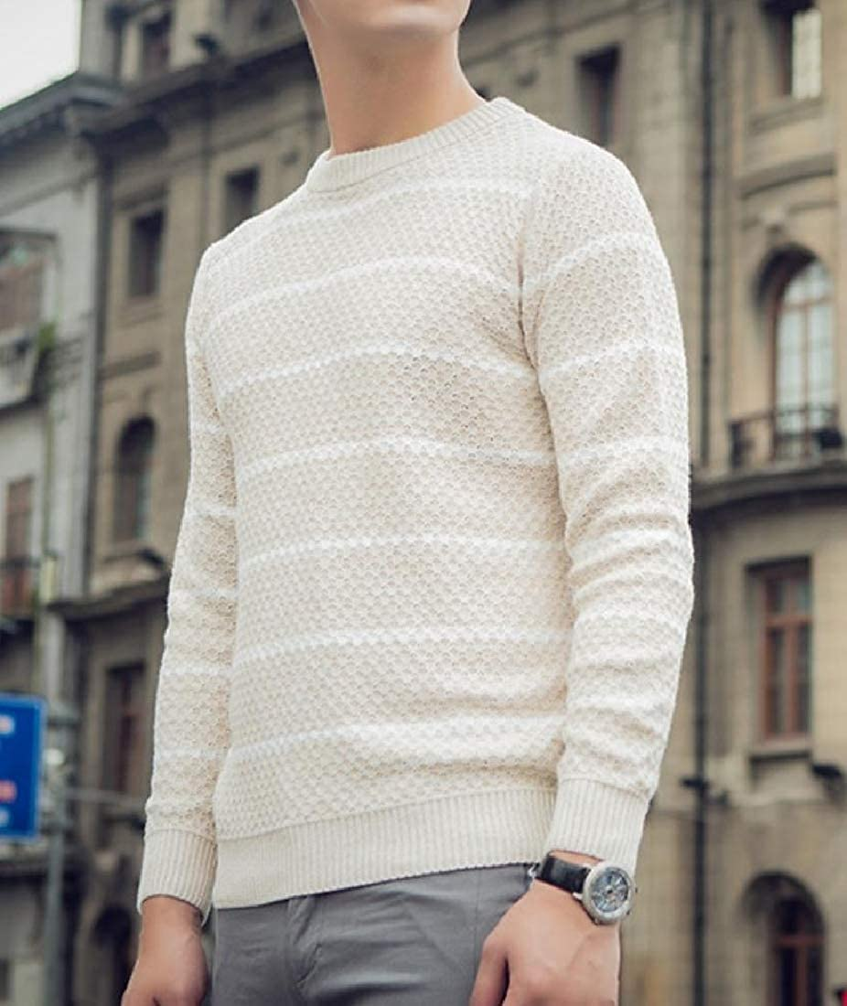 YUNY Mens Stripe Jacquard Knitted Tops Casual Pullover Sweater White L