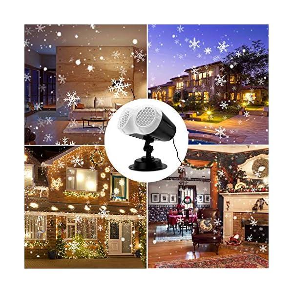 Proiettore Luci Natale LED, FOCHEA Proiettore Fiocchi di Neve Esterno e Interno Impermeabile con Telecomando RF per Decorazioni da Natale, Halloween, Matrimonio, Giardino 7 spesavip