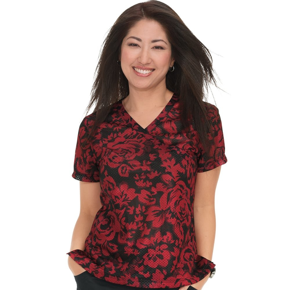 KOI Lite Women's Bliss Mock Wrap Floral Print Scrub Top X-Large Print by KOI (Image #1)