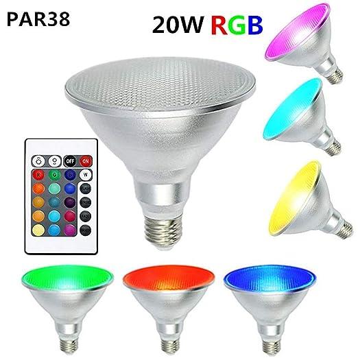 XDLUK LED Proyector Color Cambiante Bombilla E27 20W PAR38 ...