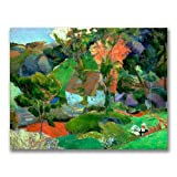 This ready to hang, gallery-wrapped art piece features a landscape of a house and trees. Paul Gauguin was a leading Post-Impressionist painter. His bold experimentation with coloring led directly to the Synthetist style of modern art while his expres...