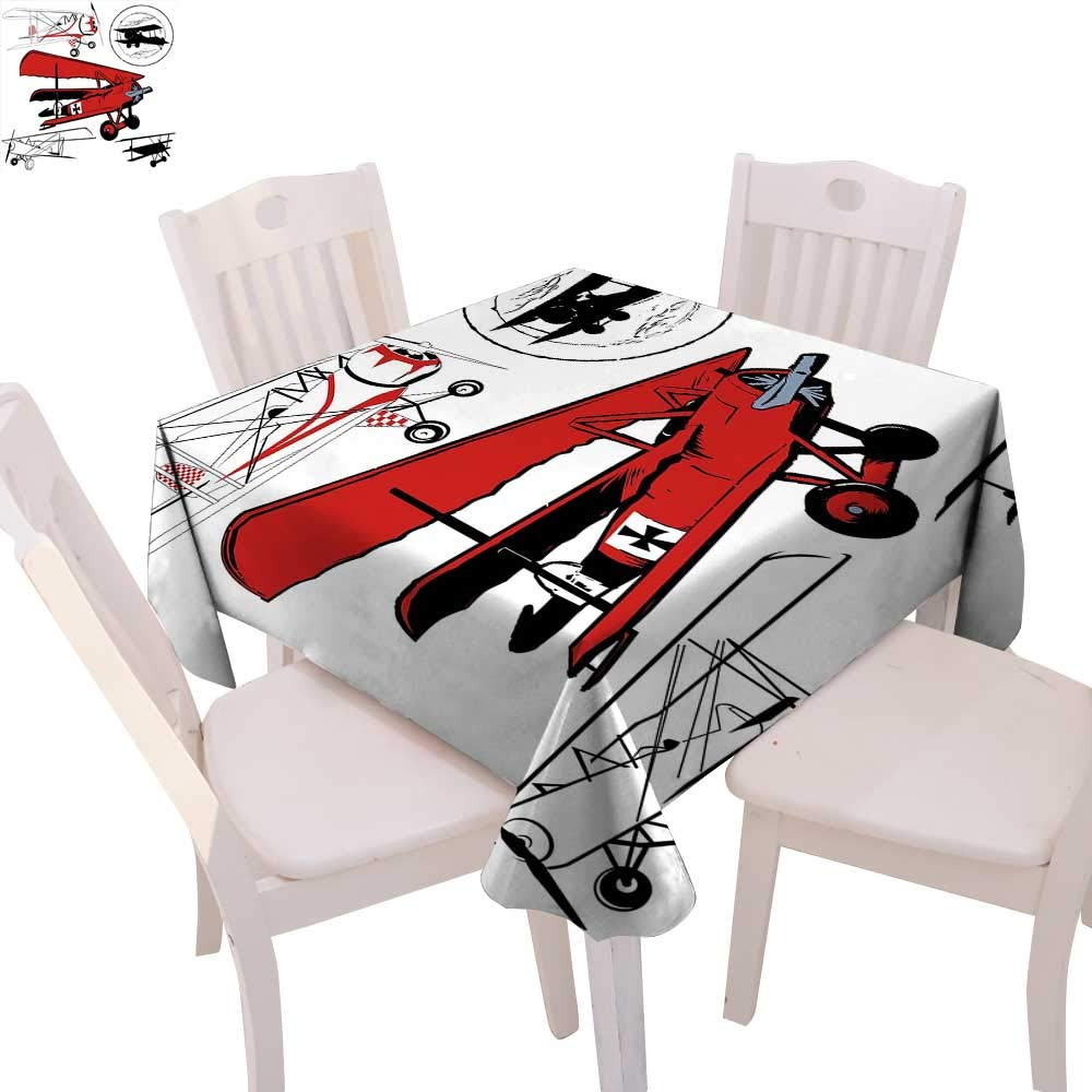 """Vintage Airplane Decor Dinner Picnic Table Cloth Collection of Various Biplanes Nostalgic Antique Silhouettes Waterproof Table Cover for Kitchen 70""""x70"""" Red White Black"""