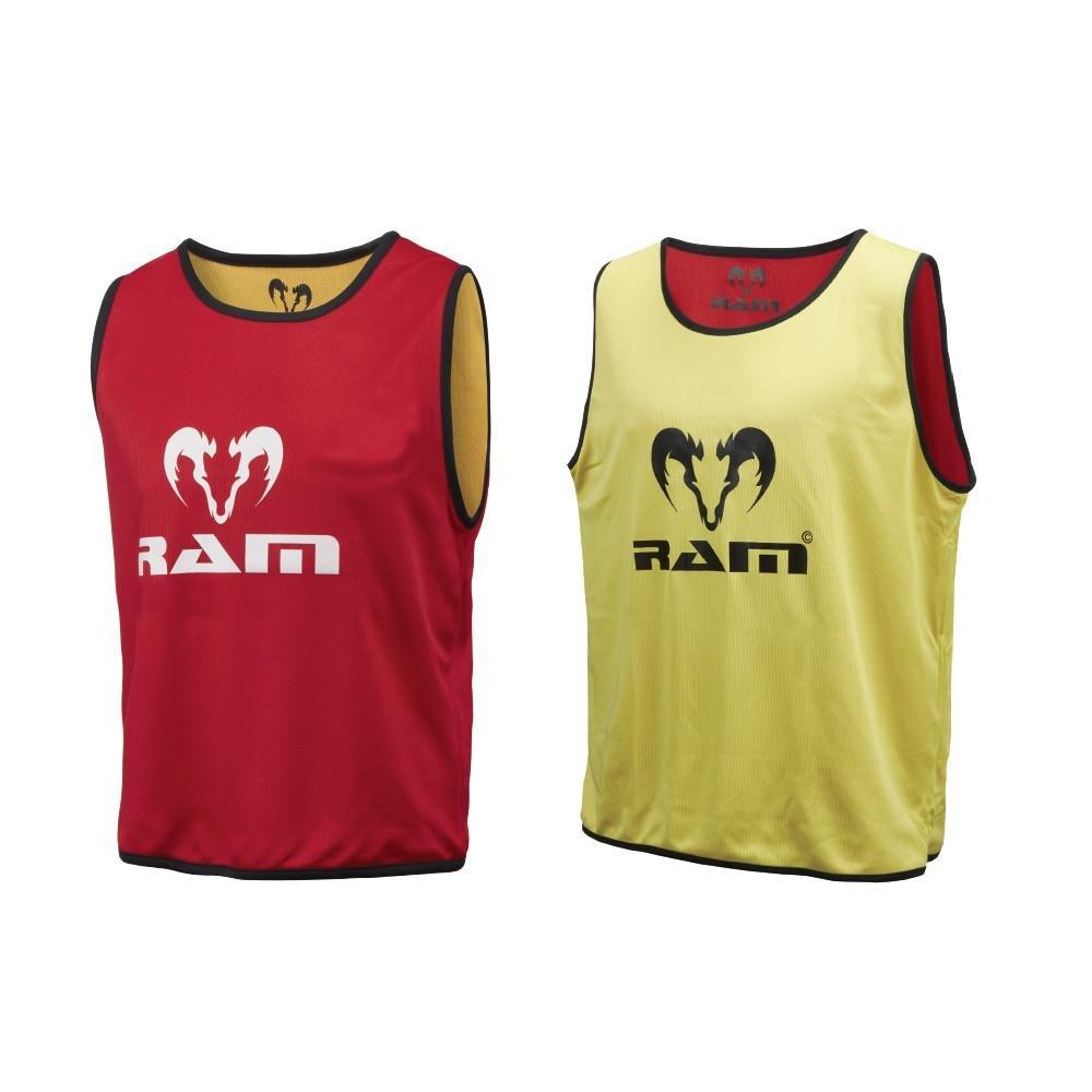 RAM RugbyリバーシブルトレーニングBibs – 10のセット – サイズLargeまたはMedium – 3カラー組み合わせ(レッド/イエロー、グリーン/ブルー、オレンジ/パープル) B076DKDFDT Red and Yellow Large