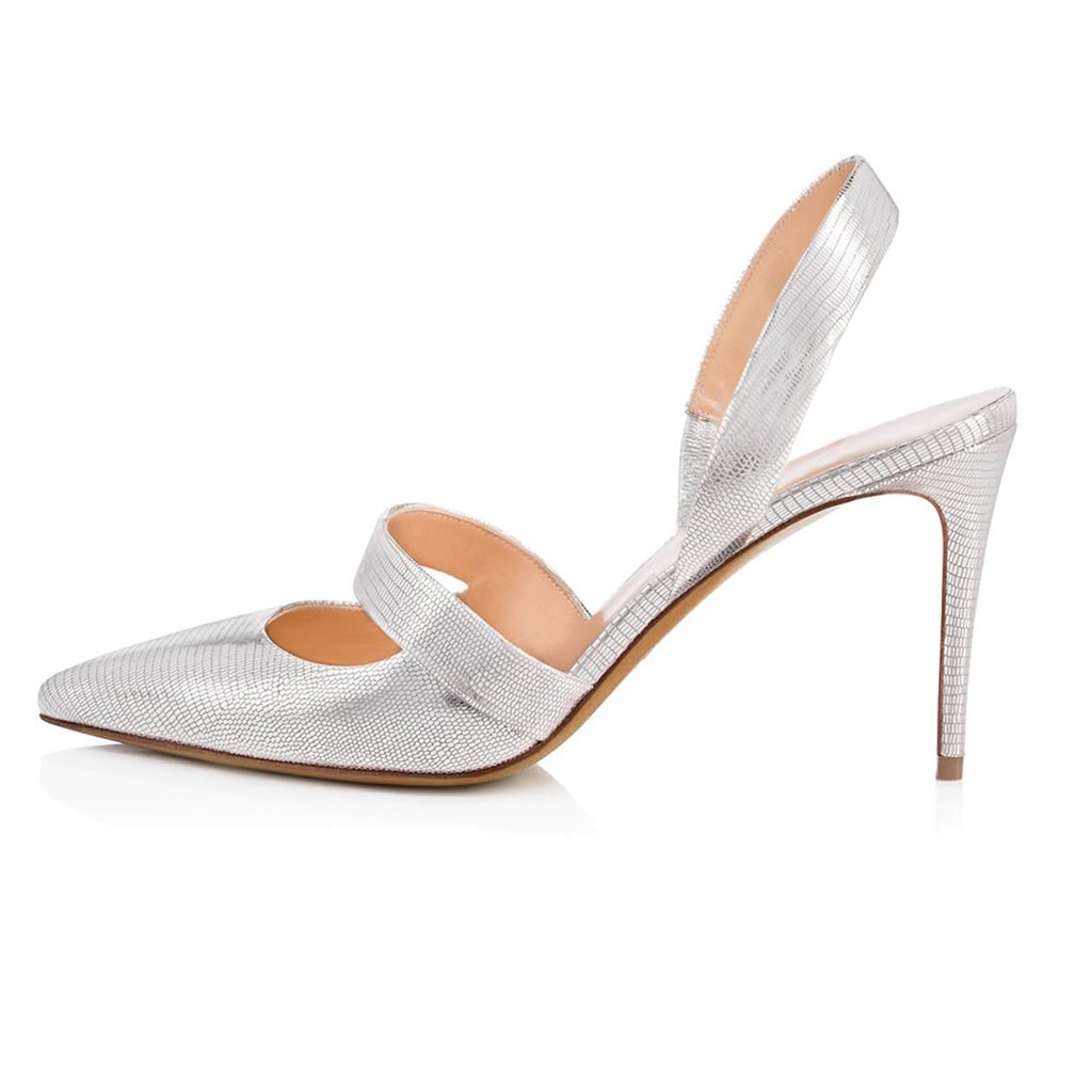 Heel Height:8.5-9.5cm WomenS Pointed Dew And Black High-Heeled Shoes Europe And America Ladies Silver Wedding Shoes