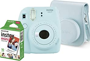 Kit Câmera Instantânea Instax Mini 9 Azul Acqua + Filme Instax Mini 10 fotos + Bolsa Azul Acqua, Fujifilm