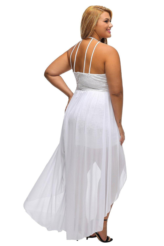 b52dc3b05c8d Lalagen Women's Plus Size Halter White Lace Wedding Party Dress Maxi Dress  at Amazon Women's Clothing store:
