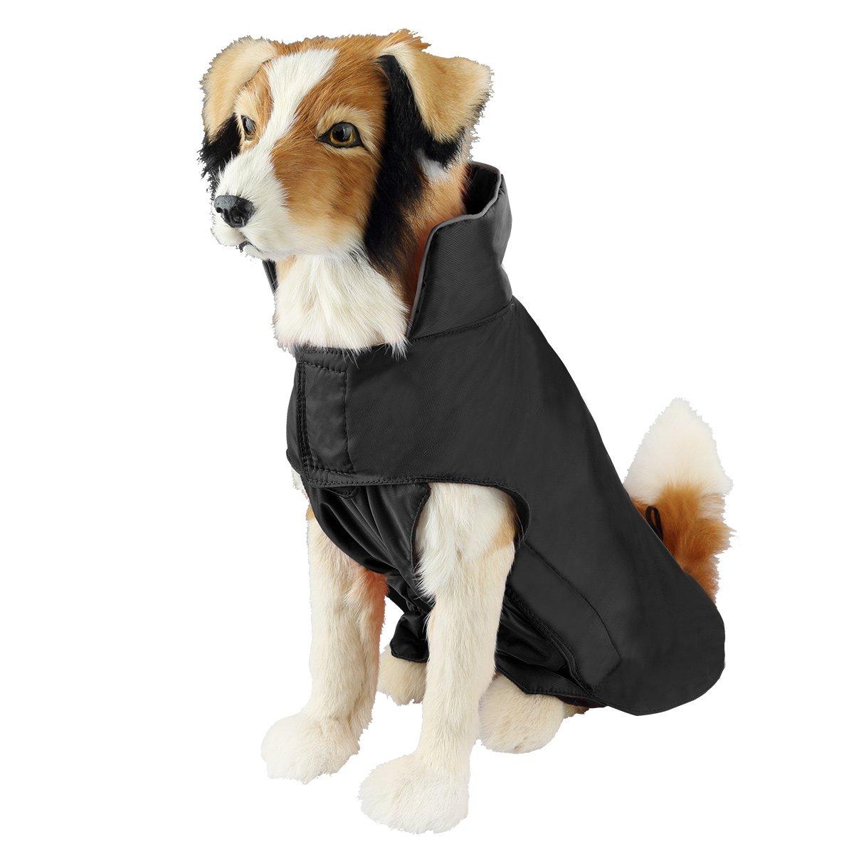 SymbolLife Capa de Mascotas 100/% Chaquete Impermeable con Forro Nylon Capa del Perro F/ácil Encendido y Apagado M Negro