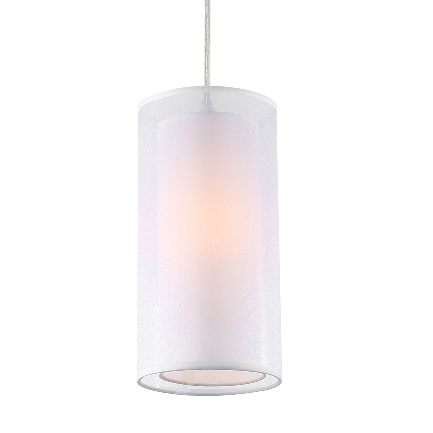 Light Society Medio Cylindrical Pendant Light, White Double Fabric Shade, Contemporary Minimalist Modern Lighting Fixture (LS-C240-WH)