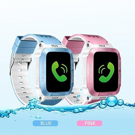 AngelaKerry niños SmartWatch GPS, reloj inteligente, SIM llamadas, sos, toque colorido LCD, anti: Amazon.es: Electrónica