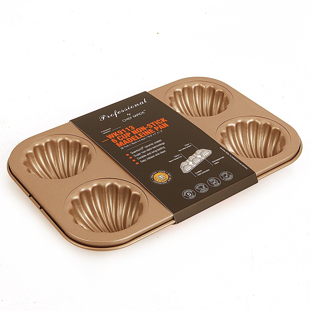 WK9113Chefmade, 6 Cup Non-Stick Scallop Shaped Madeleine Pan, Champagne Wellcook Kitchenware Co. ltd