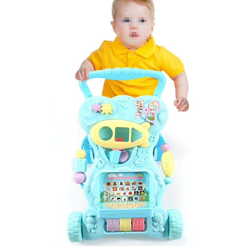 Ybriefbag-Toys Baby Three-in-one Activity Walker Infant and Child Anti-Rollover Walker 6-18 Months Baby Multi-Function Walker Trolley Toy (Color : Blue, Size : 42.34533.5CM)