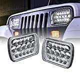 OLS Universal 5x7 7x6 inch 45W LED Headlight Set [Plug & Play] [Energy Efficient] [Rugged] - Sealed Beam Square/Rectangular Headlight Pair (High/Low Beam: 100%/60% LED Usage)