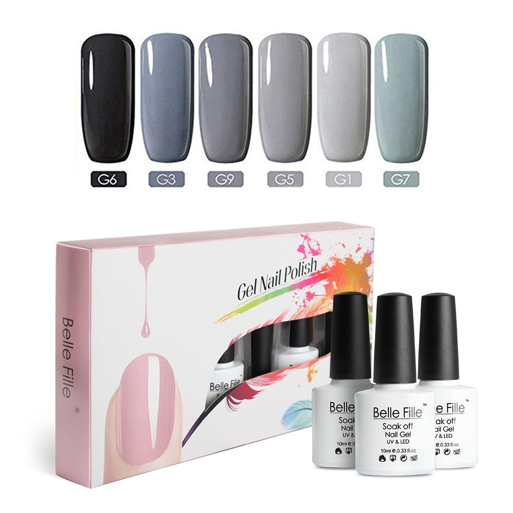 Amazon.com: Belle Fille 6 colores gris Series Soak Off UV ...