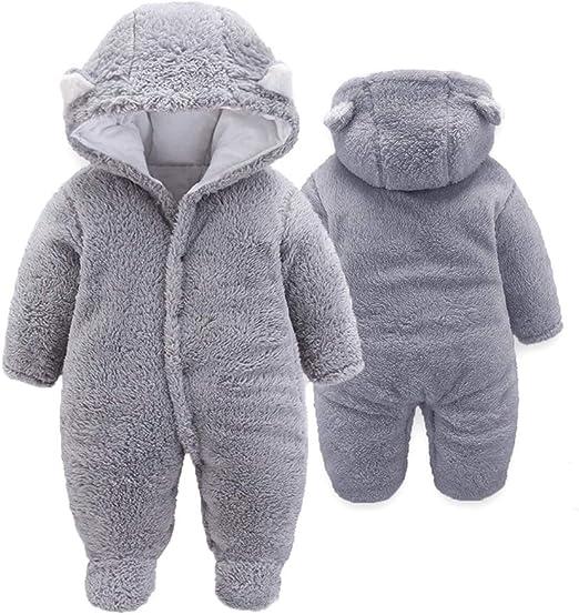 luethbiezx Newborn Baby Snowsuits Rompers Winter Infant Down Jacket Hooded Jumpsuit Footies Bodysuit Warm Outerwear with Gloves