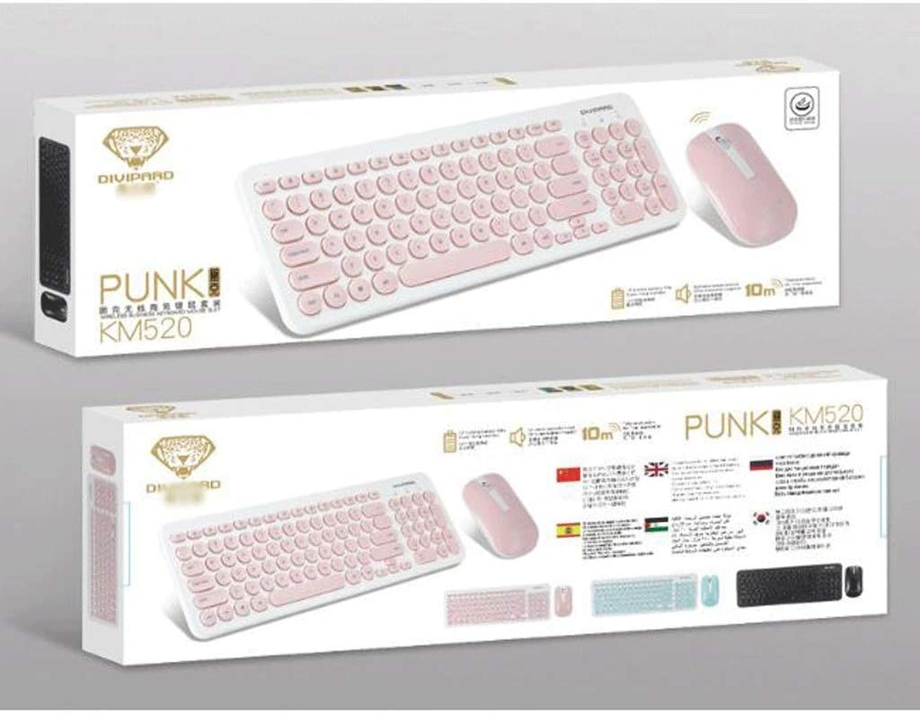 Desktop Notebook Laptop Color : Black 2.4G Wireless Keyboard and Mouse Set PC Game Office Home Light and Thin Mute Retro Punk,for Computer