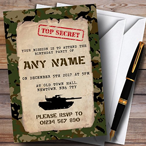 Top Secret Army Soldier Camouflage Childrens Birthday Party (Army Invitations)