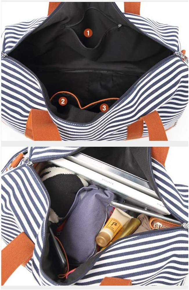 Unisex Travel Carry-on Tote Duffel Unisex Large Capacity Canvas Portable Striped Weekend Overnight Travel Bag Fitness Sports Duffel Tote Luggage Holdall Handbag Shoulder Bags for Men and Women Weekend