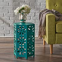 Girra Indoor 12 Inch Matte Teal Iron Floral Side Table