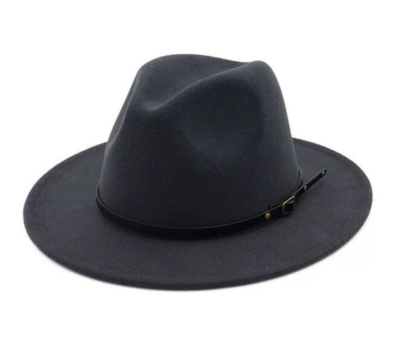 b50a2ad8ba8 Lanzom Womens Classic Wide Brim Floppy Panama Hat Belt Buckle Wool Fedora  Hat Black )